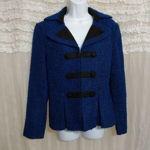 Chadwicks Blue Black Tweed Peplum Military Blazer
